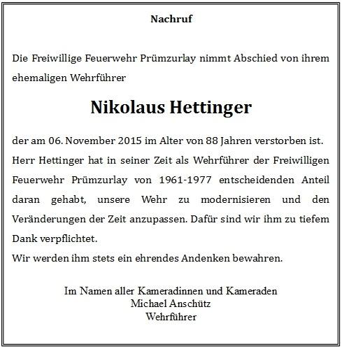 Nachruf Nikolaus Hettinger